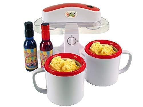 Lickleys Einzelbett Tasse Eiscreme Eltern - Weiß, Twin Bowl Ice Cream Maker with Twin Pack Sauce