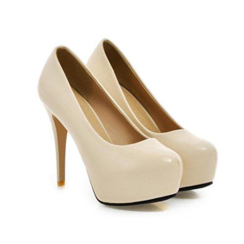 QPYC Tacco alto da donna tacco alto scarpe pigro scarpe bocca superficiale fine con impermeabile grandi scarpe da sposa codice piccolo Taiwan Beige