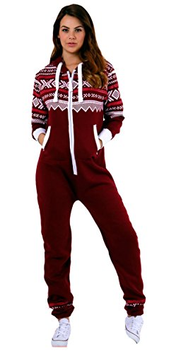 Juicy Trendz Dame Frauen Unisex One Zip Onesie Jumpsuit Playsuit Anzug H-Aztec-Wine-M