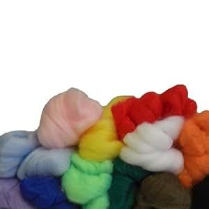 Filzwolle Märchenwolle für das Nadelfilzen, 12 Farben, 350 g.