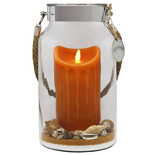 e 30cm Dekoglas LED-Echtwachs Kerze orange m bewegter Flamme u Deko-Sand Ostern Muttertag Geburtstag ()