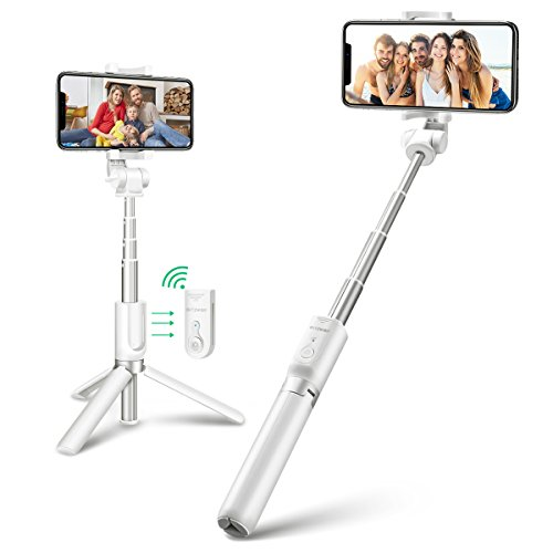 Bluetooth Selfie Stick Stativ, BlitzWolf 3 in 1 Erweiterbar Monopod Wireless Selfie-Stange Stab 360° Rotation mit Bluetooth-Fernauslöse für Android Samsung Galaxy 3.5-6 Zoll Smartphones(Weiß)