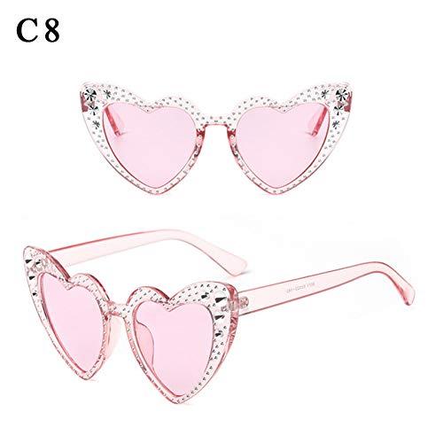 ZHENCHENYZ Mode Sexy Damen Herzform Sonnenbrille Bunte Tönung Objektiv Kristall Dekoration Übergroße Frauen Brillen