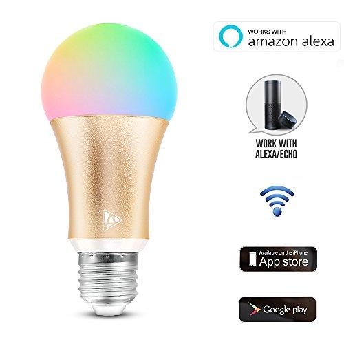 2017Acemax Smart WiFi LED-Leuchtmittel, funktioniert mit Alexa, kein Hub notwendig, mit App-Steuerung, Timer, verschiedene Einstellungen wählbar, dimmbar, mehrfarbig, Farbwechsel