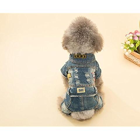 Dell'animale domestico cane cucciolo jeans bello quattro - piede vestiti Teddy autunno caldo vestiti e forniture di abbigliamento invernale , m