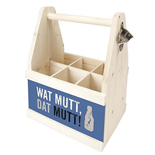 Beer Caddy Flaschenträger Holz für 6 Flaschen mit Öffner witziger Aufdruck (Wat mutt, dat mutt)