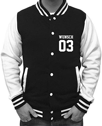 Comedy Shirts Wunsch - Herren College Jacke - Schwarz/Weiss Gr. S