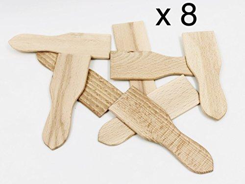Artisanat Français, Fabrication dans Le Jura, Made in France 8 spatules à raclette DE 13,8 cm/4,5 cm, Emballées sous Vide Idéale raclette et pierrade Bois de Hêtre Bru