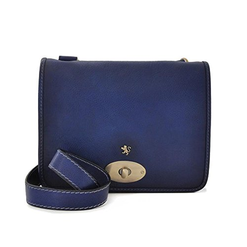 Pratesi Postina vieilli cuir italien messager sac, sac à bandoulière (noir) bleu foncé