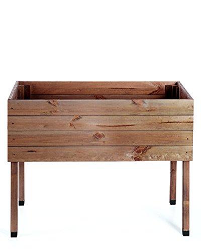 myGardenlust Hochbeet aus Holz - Kräuterbeet für Garten Terrasse Balkon - Pflanzkübel als Gemüse Beet - Pflanzkasten Groß Outdoor mit Fußkappen aus Kunststoff Braun imprägniert | 100x50 cm