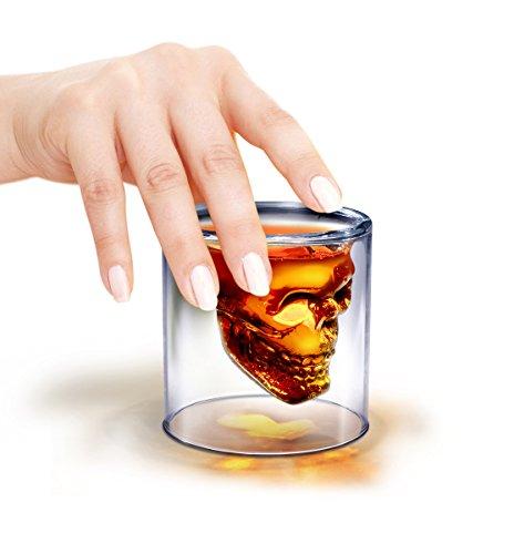 Totenkopf Whiskeyglas mit Doppelwand