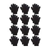 ABREOME 12 Paar Baumwolle Handschuhe Kinder Unisex Winter Finger-Handschuhe, Fingerhandschuhe,Skihandschuhe(Schwarz,13cm,4-6 Jahre alt)