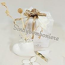 PROFUMATORE bomboniere porcellana e cristallo cuore bianco matrimonio prezzi bassi