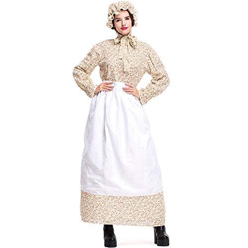 Kostüm Frauen Europäische - CHIYEEE Damen Maid Party Kostüm Europäischen Pastoralen Stil Kleid für Frauen Khaki XXL