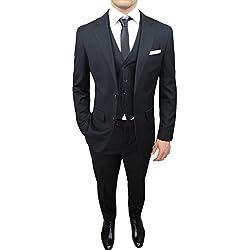 Abito completo uomo sartoriale nero elegante con gilet, cravatta e pochette in coordinato (54)
