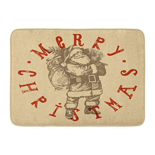 ghkfgkfgk Doormats Bath Rugs Outdoor/Indoor Door Mat Vintage Retro Christmas Label Santa Claus Etching Lettering Stamp Rubber Old Bathroom Decor Rug 23.6 x 15.7 Inch (Santa Claus Suite)