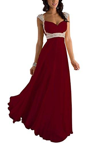 Erosebridal Erosebridal Formal Chiffon Lange Brautjungfernkleider Abendkleid DE 32 Burgund