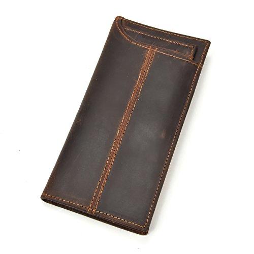Echtes Leder lange Brieftasche mit Reißverschluss Tasche Vintage Bifold Scheckheft Geldbörse (Brown 4)