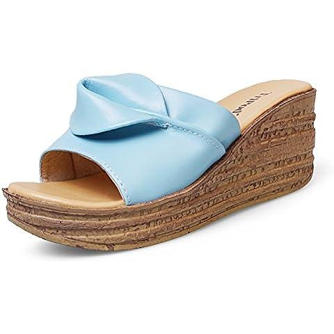 Confortevoli scarpe in pelle fiore/ Lady slipper/ Natalie Choquette con sandali e ciabatte/ scarpe alla moda con la suola spessa all