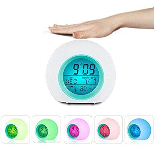 Lichtwecker 7 Farbige LED Wake Up Licht Wecke Farben Ändern mit Temperatur & Nature