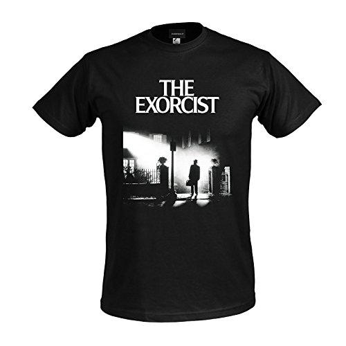 Elbenwald La Camiseta de los Hombres Exorcista Carteles Negros para Horror de algodón