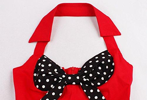 Oriention 1950s Vintage Rockabilly Kleid, Damen Elegant Ärmellos Abendkleid Retro Hausfrau Swing Festliches Cocktailkleider Partykleider Gr.36-50 Rote/Polka-40