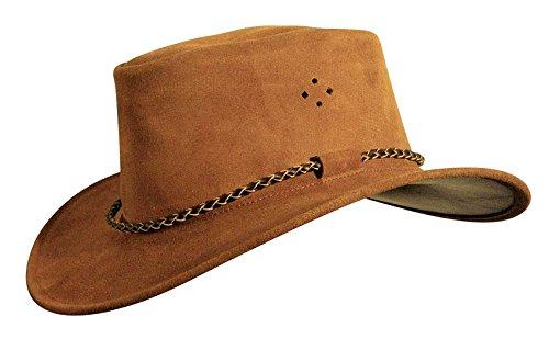 Kakadu Traders Australia Cowboy Wildleder-Hut in Rostbraun für Kinder, Rundkordel-Hutband mit geschwungener Krempe und Kinnbandösen (Kakadu-canvas Hut)