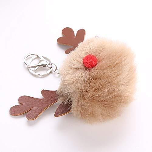 che Ornamente 1 STÜCK Plüsch Ball Schlüsselanhänger PU Geweih Schlüsselanhänger (Khaki) ()