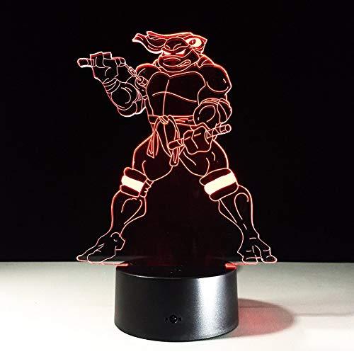 Teenage Mutant Ninja Turtles 3D Lampe mit 7 Farben Ändern Wirkung Kinder Geburtstagsgeschenk Tischlampe Wohnkultur