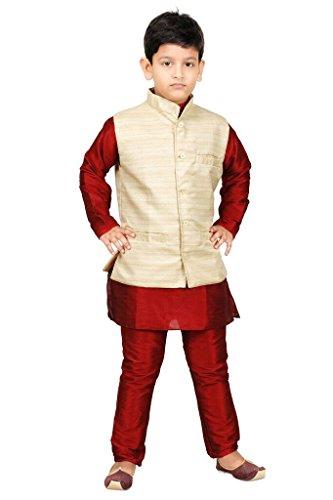 JBN Creation Boys Cotton Silk Kurta Pyjama With Matka Jacket