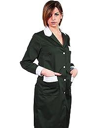 Camice mujer cameriera trabajo limpieza casacca algodón camera vestido de ama de casa negro 46