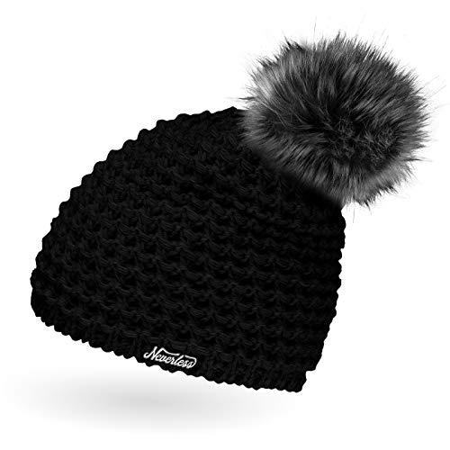Neverless Damen Strickmütze mit Fell-Bommel und Fleece gefüttert, Kunstfell, Winter-Mütze, Bommelmütze, schwarz Unisize