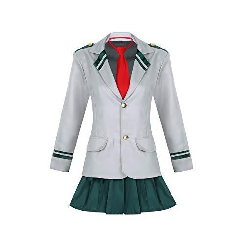 iEFiEL Unisex Damen & Herren Schuluniform Cosplay Schulmädchen Kostüm Outfits Langarm Anzug +Faltenrock Hose +Krawatte Damen Dunkelgrün Large