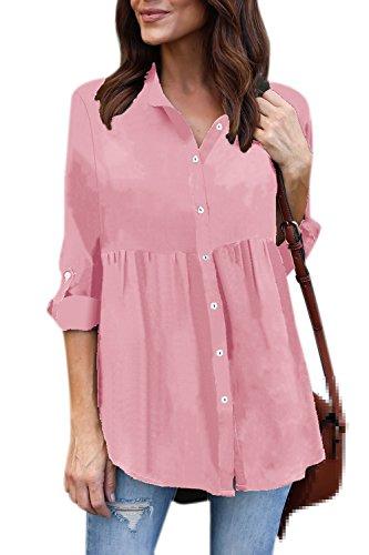 YACUN Le Donne In Camicia A Maniche Lunghe Occasionale Lavoro Camicetta Grey
