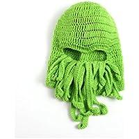 FOUGNOGKISSS Moda Hombres Mujeres Hechas a mano de doble línea hilado de tejer sombrero de pulpo barba verde