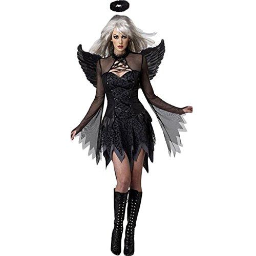 Costour Damen schwarzer Engel Hexe Cosplay Kostüm Kleid Karneval Halloween Fasching (Dark Für Halloween Flügel Angel)