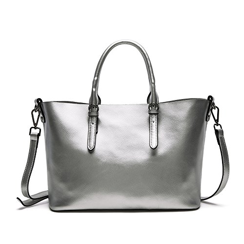 Dissa Q0604 deman Leder Handtaschen Top Handle Satchel Tote Taschen Schultertaschen ,34x23.5x16.5cm (B x H x T) Silber
