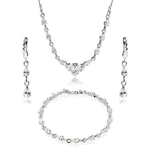 ber-Schmuckset Silber 925 Zirkonia-Steine Glitzer Farblos Längen-verstellbar Geschenkverpackung Brautschmuck ()