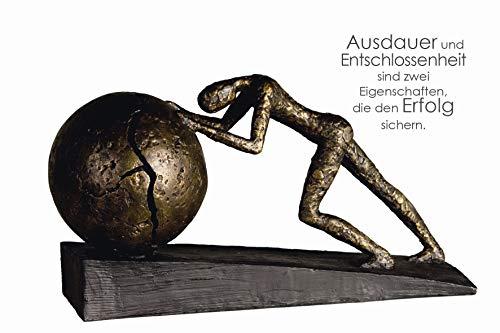 Casablanca - Skulptur Heavy Ball - aus Poly bronzefarben auf Basis H 21,5 cm