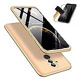 AChris Huawei Mate 20 Lite 3 en1 Slim Transparente Protectora Ultra Fina Ultra Hybrid Caso Carcasa Cover Case con Vidrio Templado Pantalla Protector Anti-rasguños Absorción de Choque Resistente- Oro
