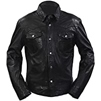 Uomini denim stile casual in pelle nera camicia jeans Giacca