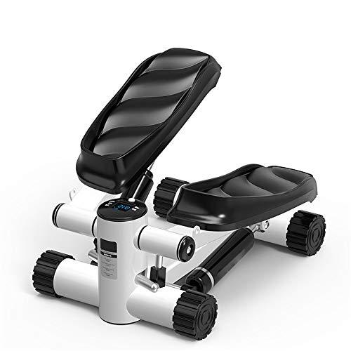 Lisansang Mini-Stepper Verstellbarer Mini-Fitness-Stepper Trainingsgerät Cardio-Übungstrainer, Drehbewegung mit Widerstandsbändern Indoor Fitness Treppe Stepper, weiß, 37x46x23cm