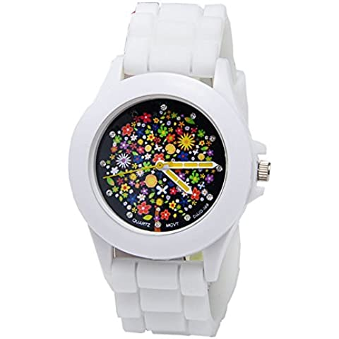 Moda Donna orologio da polso al quarzo bianco puro (Blazing coulorful Flower Stampa quadrante diamante scala embedded, Custodia in metallo, Cinturino in silicone) - 20 Diamanti Womens Watch