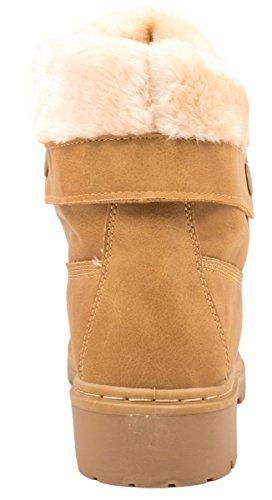Elara Damen Worker Boots | Bequeme Warm Gefütterte Schnürrer | Outdoor Stiefeletten Camel Sydney