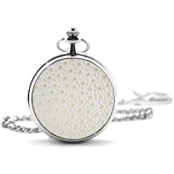 White Textured Cover Silver Pocket Watch & Chain Simulated Leather Unique Unisex