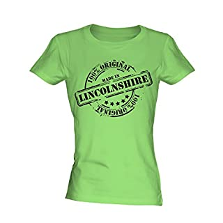 Made In Lincolnshire - Ladies Fitted T-Shirt Top, Size X-Large, Colour Sour Lime
