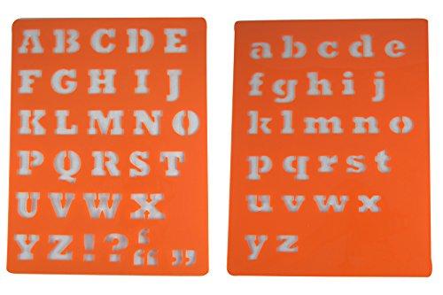 Rangebow ® Schrift Orange Schablone, 2 Schablone, Alphabet, Großbuchstaben, Kleinbuchstaben &/einfache & Großbuchstaben, Orange