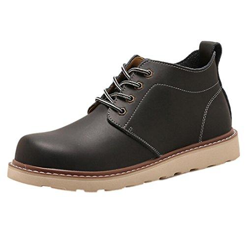 Stiefeletten Herren Winter Btruely Männer Martens Stiefel Freizeitschuhe Kurze Stiefel Junge Wanderstiefel Retro Schuhe (42, Schwarz)