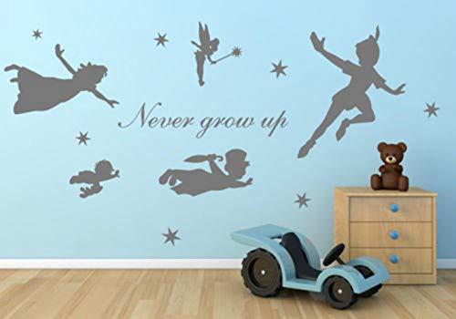 Wandaufkleber Kinderzimmer Cartoon-Figur Peter Pan Nie aufwachsen Tinkerbell Art Mural Kids Home Dekor für Mädchen Schlafzimmer Wohnzimmer
