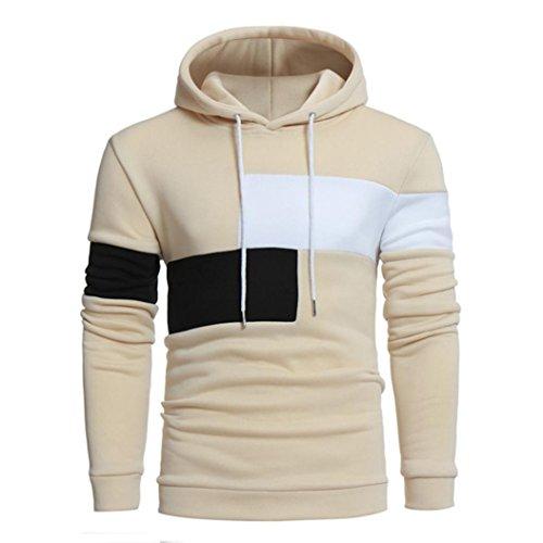 Hoodie Herren Männer Nähen Farbe Langarm Mantel Jacke Sport Tops Outwear GreatestPAK,Beige,XXXL